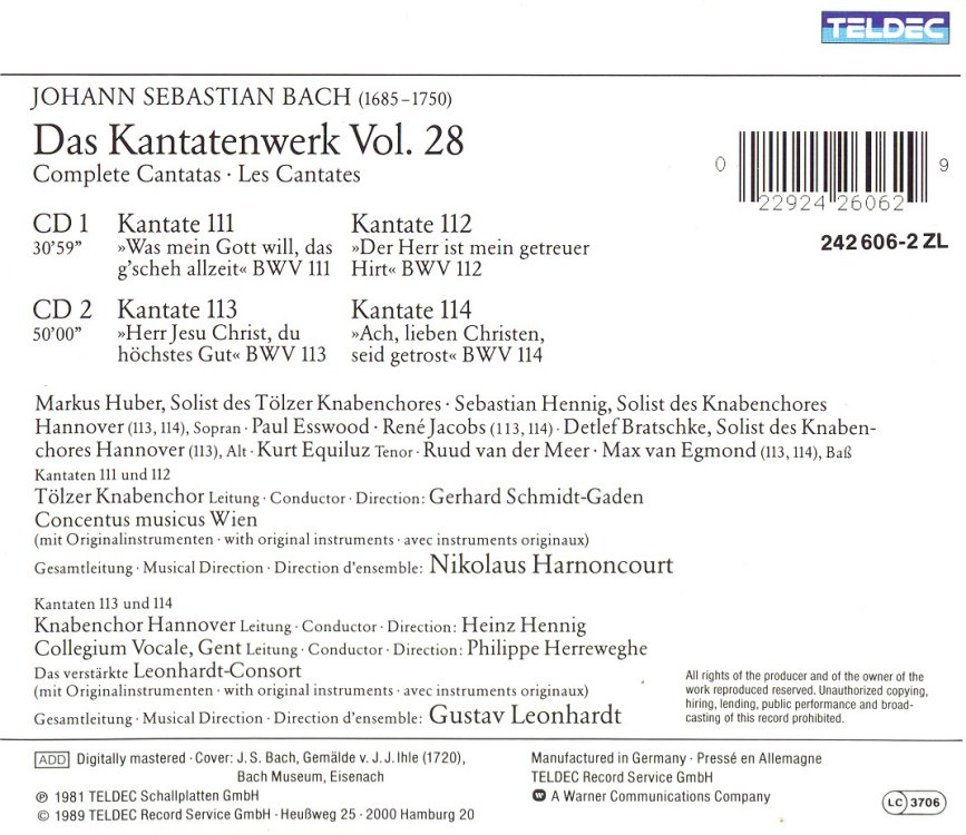 Cantata BWV 114 - Details & Discography Part 1: Complete Recordings